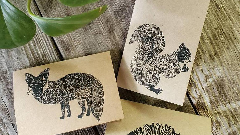Hand Printed Critter Notecards