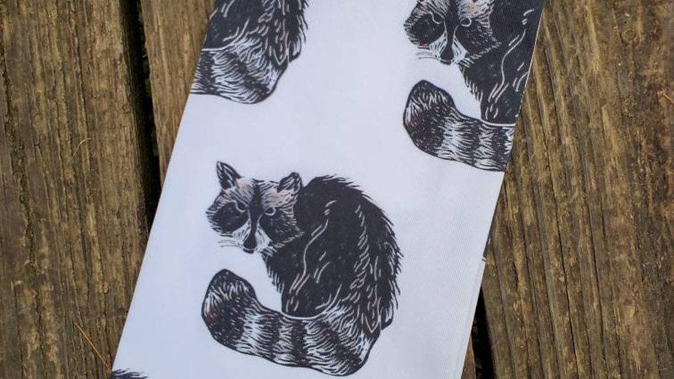 Handmade, 100% Cotton, Raccoon Tea Towel