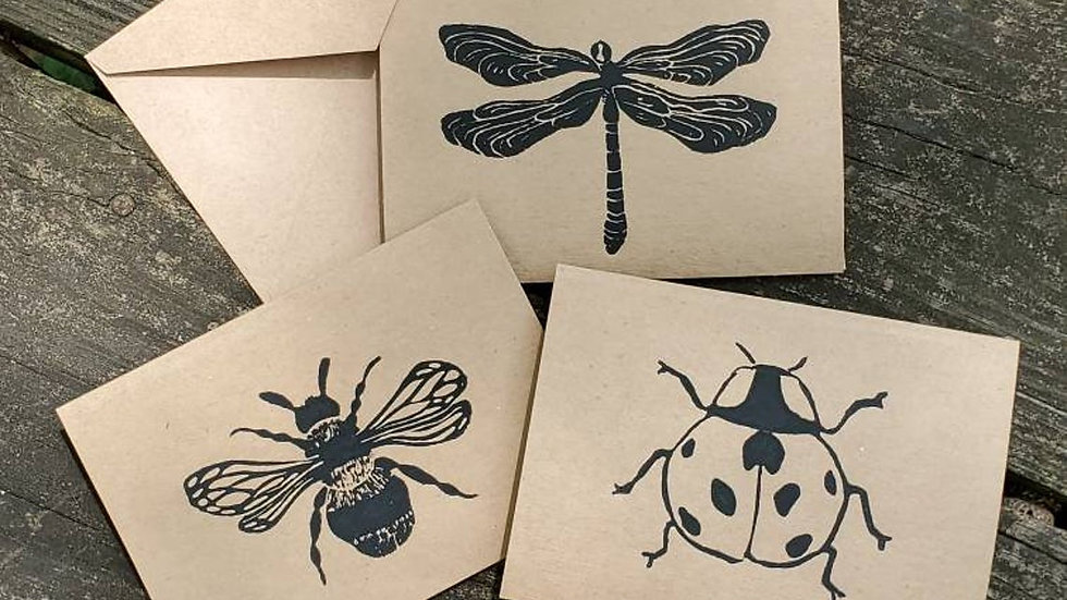 Hand Printed Insect Notecards