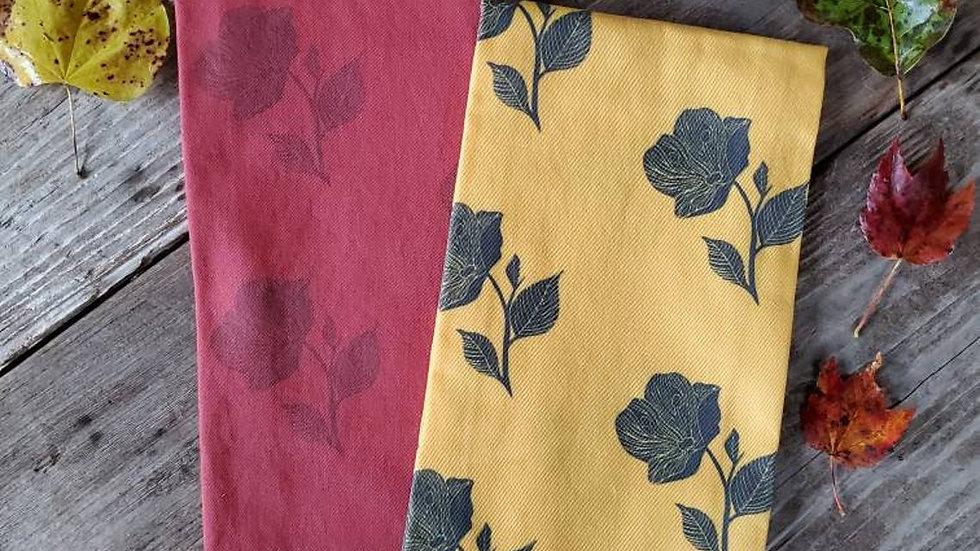 Handmade, 100% Cotton, Rose Tea Towel