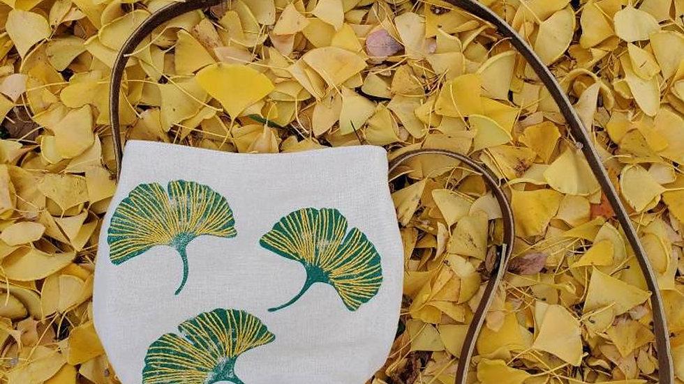 Hand Printed, Hand Embroidered, Organic Cotton Gingko Leaf Crossbody Bag
