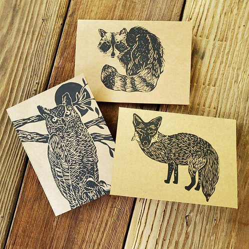 Hand Printed Animal Notecards