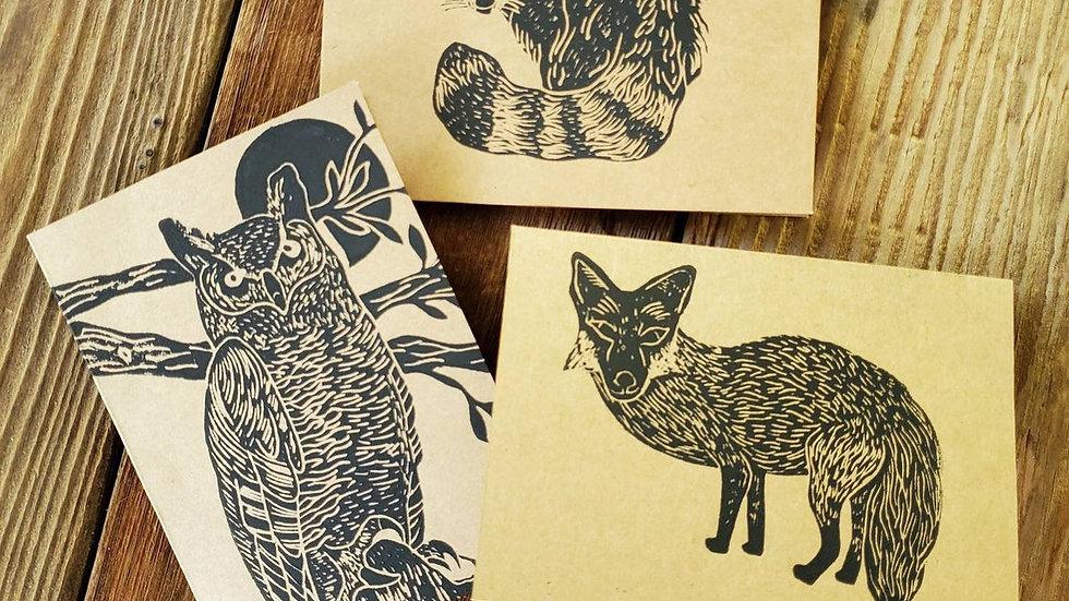 Hand Printed Animal Notecards