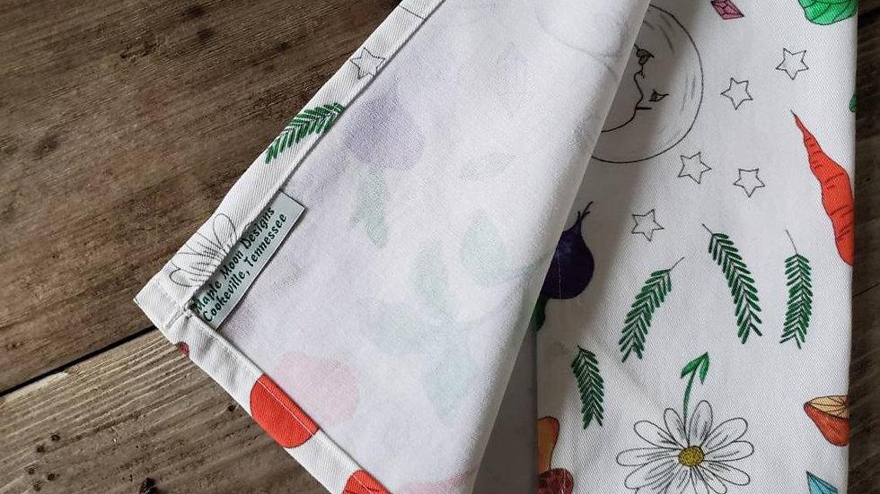 Handmade, 100% Cotton, Veggie Moon Tea Towel