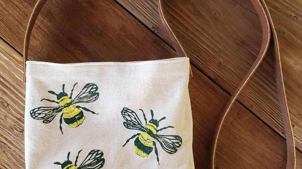 Hand Printed, Hand Embroidered, Organic Cotton Honeybee Crossbody Bag