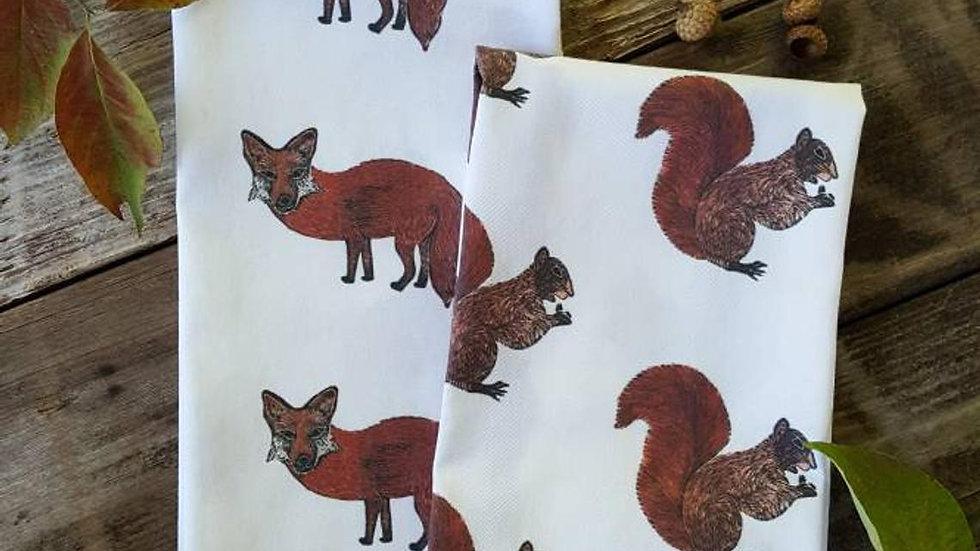 Handmade, 100% Cotton, Fox Tea Towel