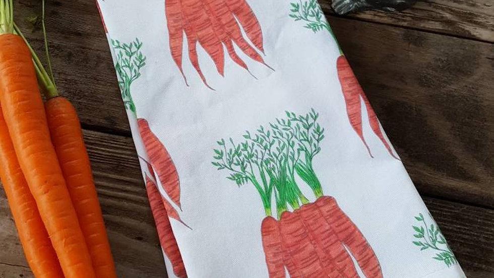 Handmade, 100% Cotton, Carrot Tea Towel