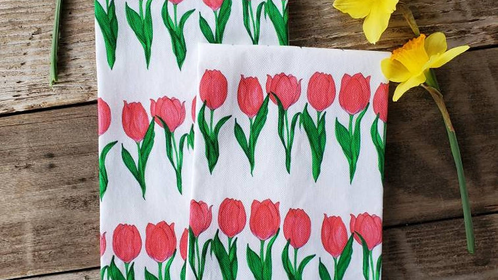Handmade, 100% Cotton, Tulip Tea Towel