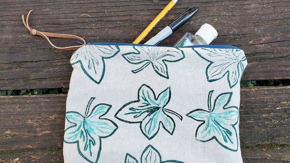 Hand Printed, Hand Embroidered, Organic Cotton Ivy Leaf Zipper Pouch