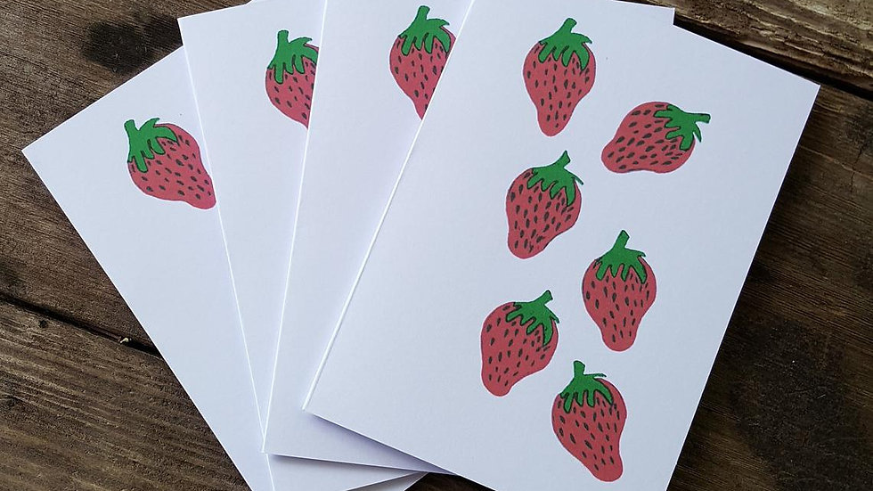 Hand Illustrated Strawberry Greeting Cards
