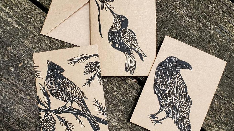 Hand Printed Bird Notecards