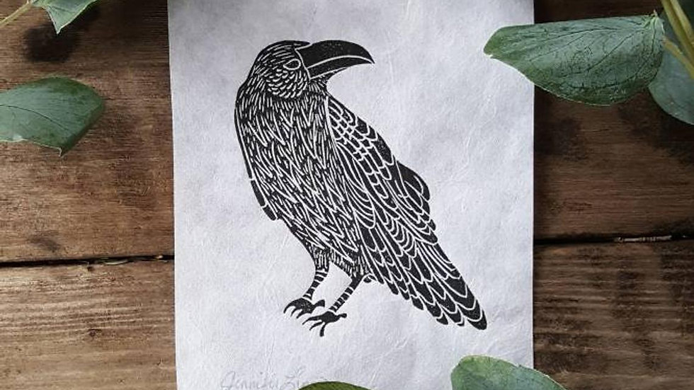 Hand Pulled, Linoleum Block, Raven Print