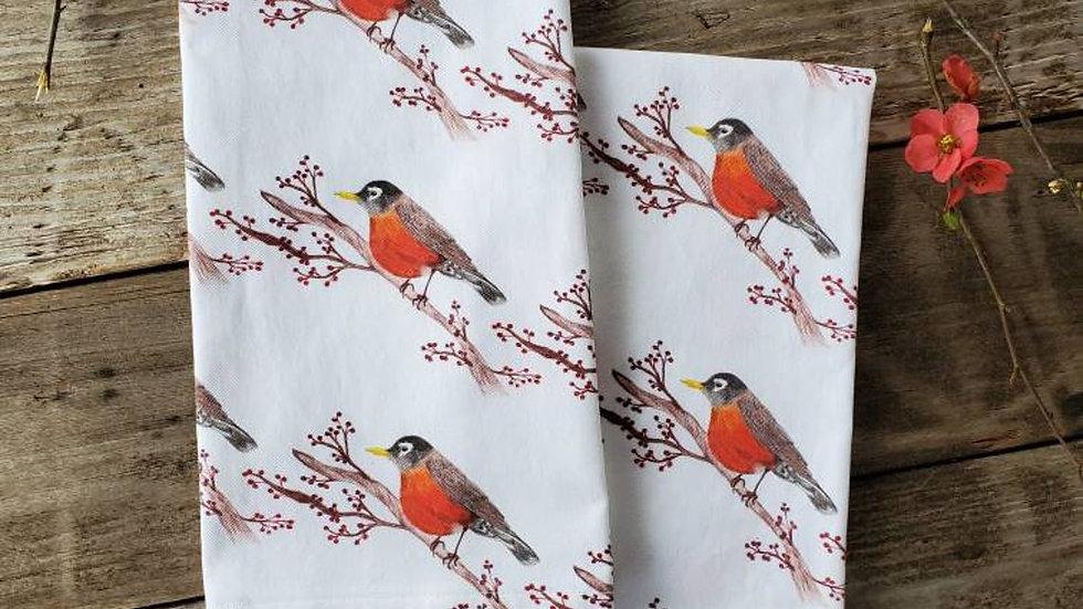 Handmade, 100% Cotton, Robin Tea Towel