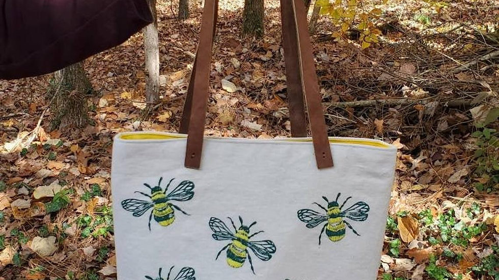Hand Printed, Hand Embroidered, Organic Cotton Honeybee Tote Bag
