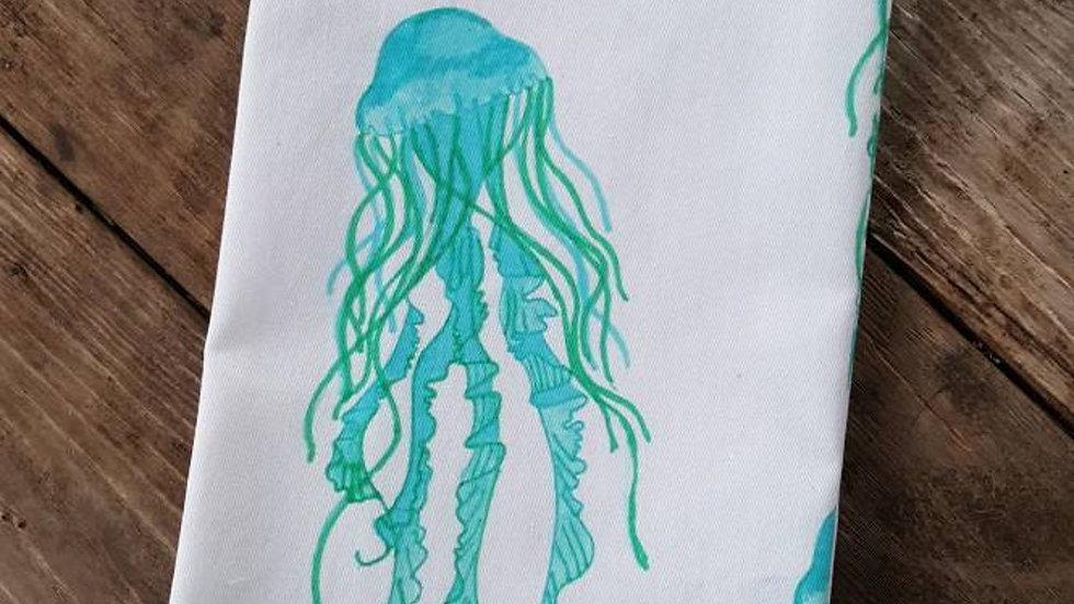 Handmade, 100% Cotton, Jellyfish Tea Towel