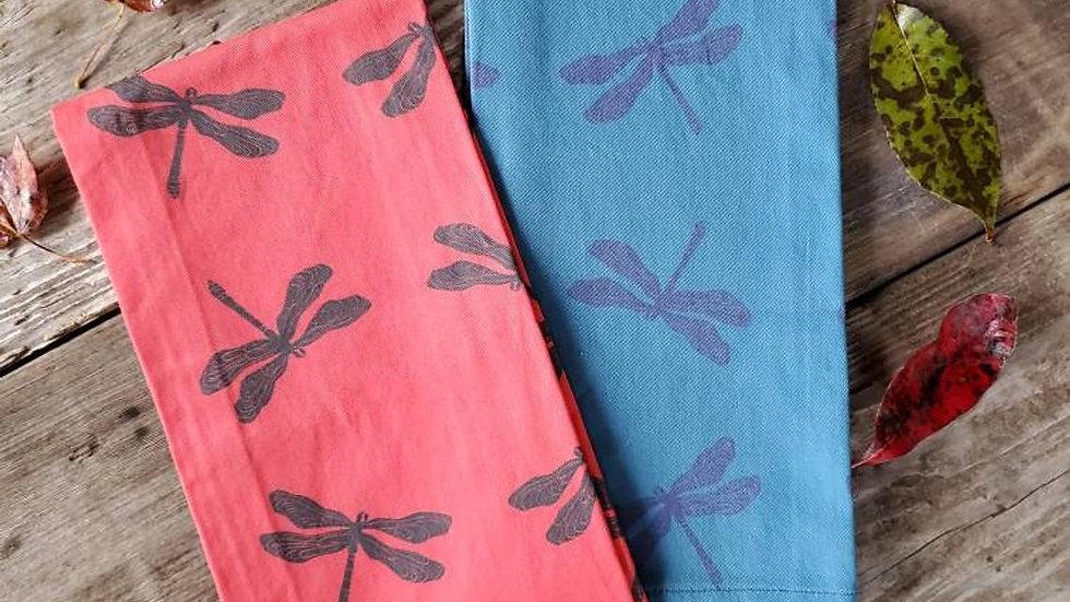 Handmade, 100% Cotton, Dragonfly Tea Towel