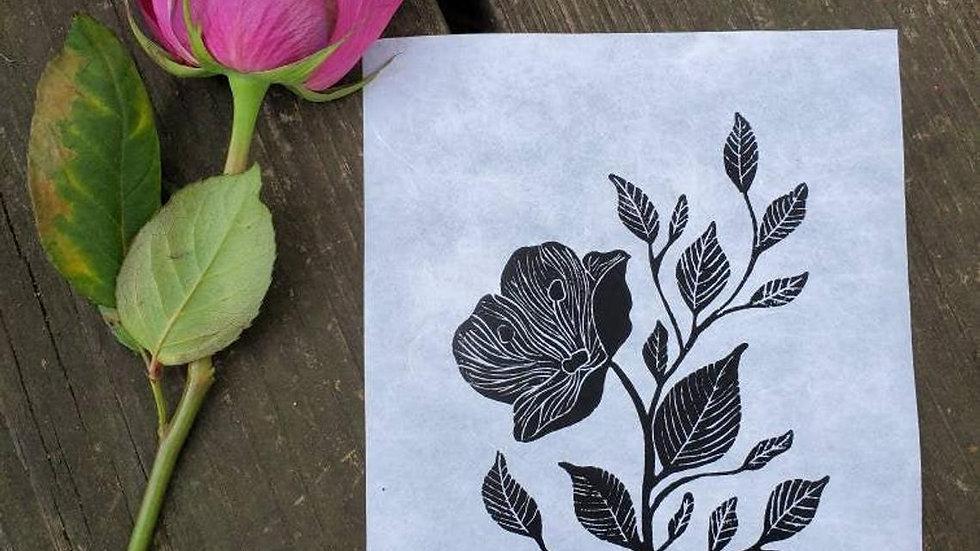 Hand Pulled, Linoleum Block, Rose Poppy Print