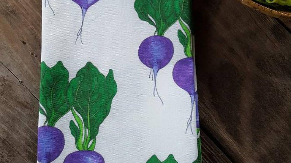 Handmade, 100% Cotton, Radish Tea Towel