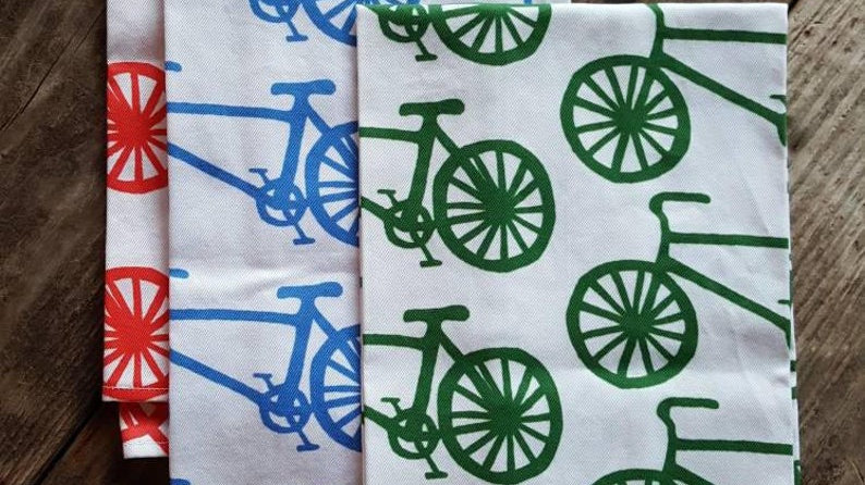 Handmade, 100% Cotton, Bicycle Tea Towel