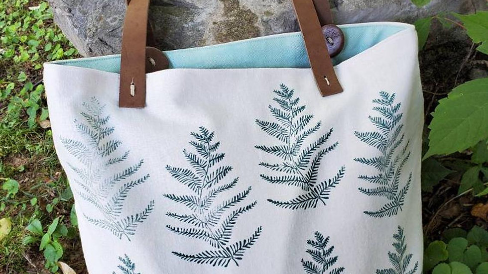Handmade, Hand Printed, Organic Cotton, Fern Tote Bag