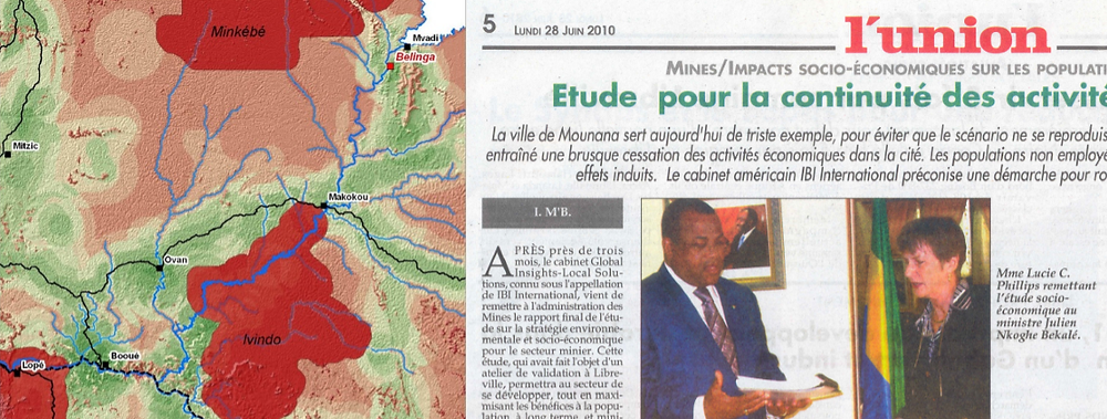 Excerpt from the Development Favorability Map created for a study of Gabon's mining sector. Right: Dr. Phillips on the cover of Gabonese newspaper L'union with Julien Nkoghe Bekale, Minister of Mines, Oil, and Hydrocarbons in Gabon.
