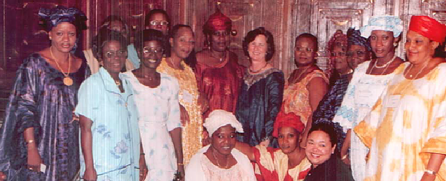 Dr. Lucie Phillips, back row, at a celebratory gala dinner at the Hotel Salaam with the West African Women's Association.