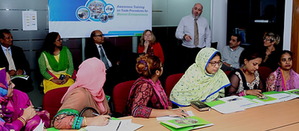 An awareness training workshop for women entrepreneurs under the Dhaka Women's Chamber of Commerce and Industry (DWCCI). During these training events, the BTFA team shares their knowledge and expertise with women entrepreneurs and representatives who are interested in becoming exporters to expand their market base.