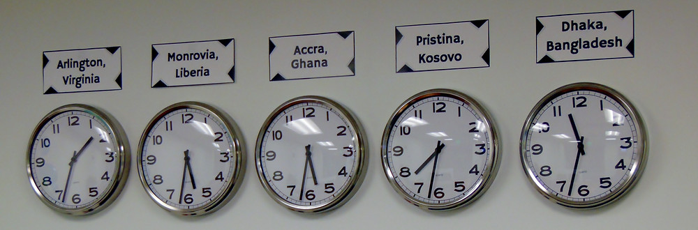 The time zone's in IBI's international offices as displayed at the new headquarters in 4040 North Fairfax Drive, Arlington, VA.