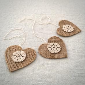 Handmade Hessian Heart Tags
