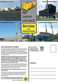 """Postkarte von BAESH mit vier AKWs auf der Titelseite: """"Wir ziehen um nach Harrislee"""""""