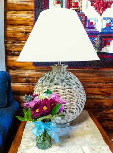 round woven lamp