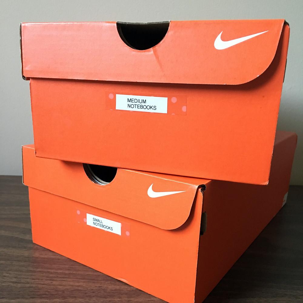 repurposed shoe boxes