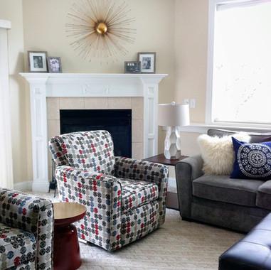 sleek stylish family room