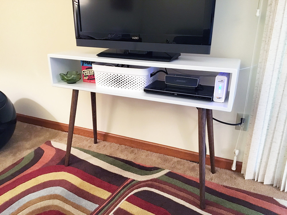 organized tv stand