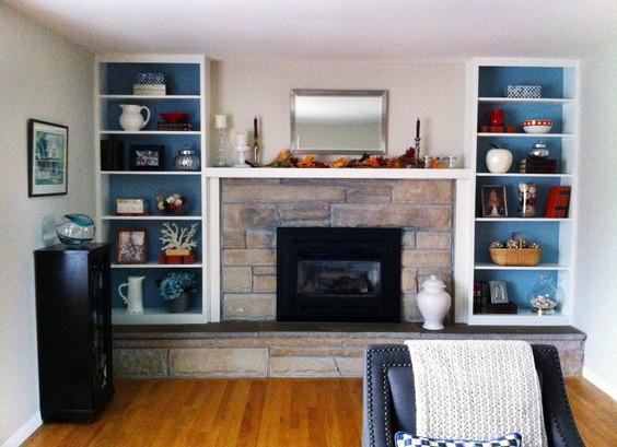 white open shelves