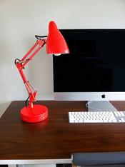 red desk lamp