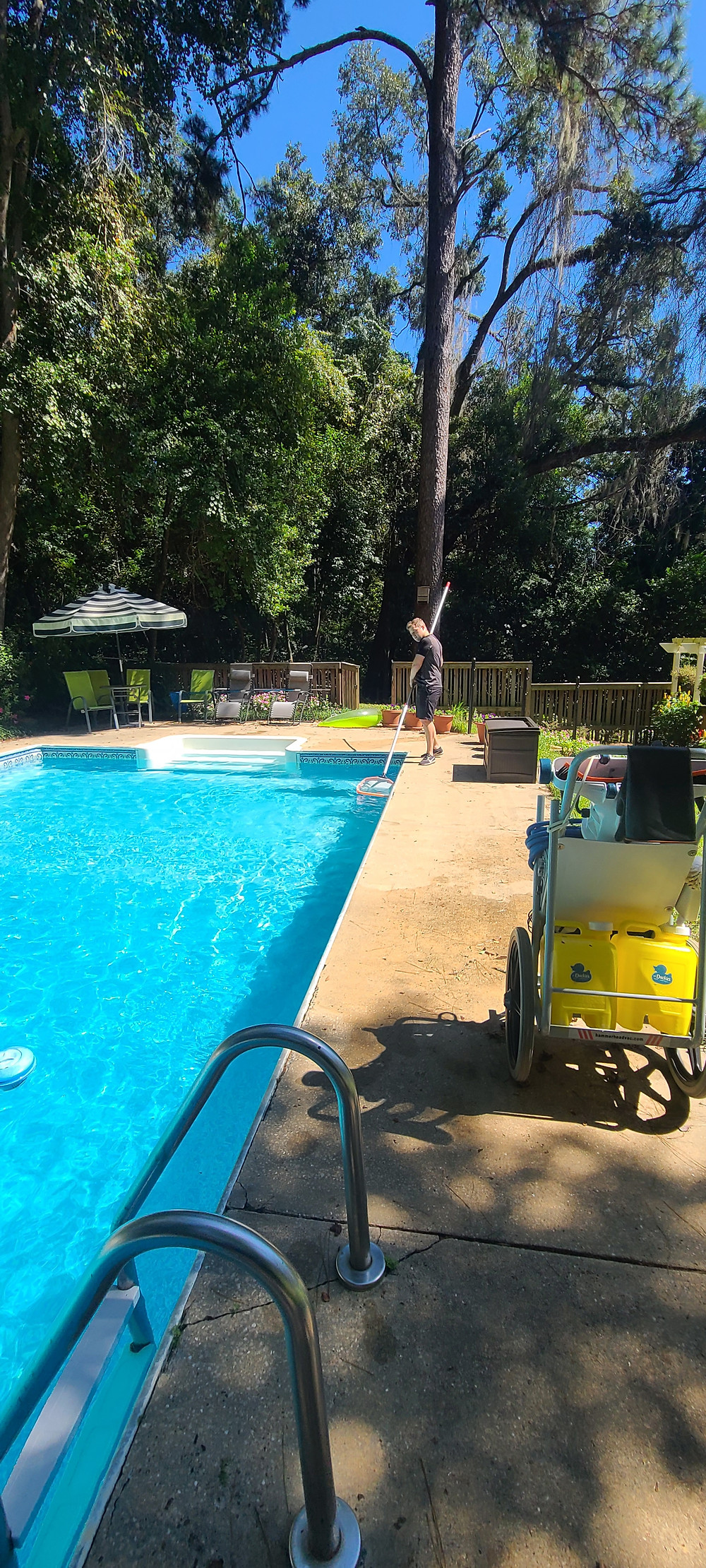 It is important to brush the interior surface of the pool and to net for debris to keep a pool clean