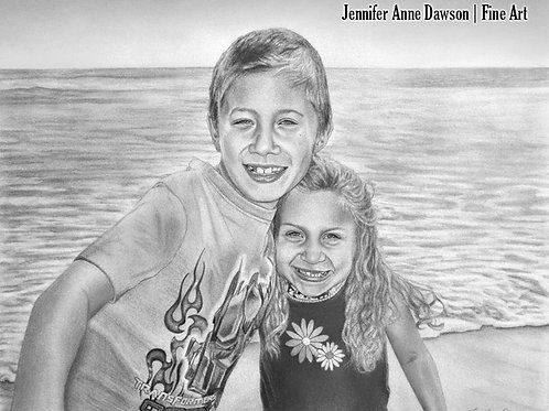 Two-Subject Custom Pencil Portrait from Photo