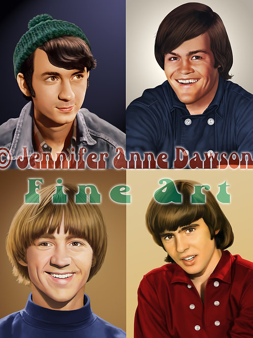 The Monkees Set of FOUR (4) Original Art (Prints)