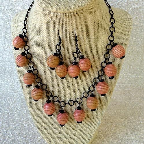 Adorable Pale Pink Black Asian Lantern Necklace and Earring Set