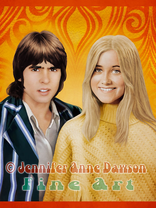 Davy Jones & Marcia Brady Original Hand Drawn Digital Art Print