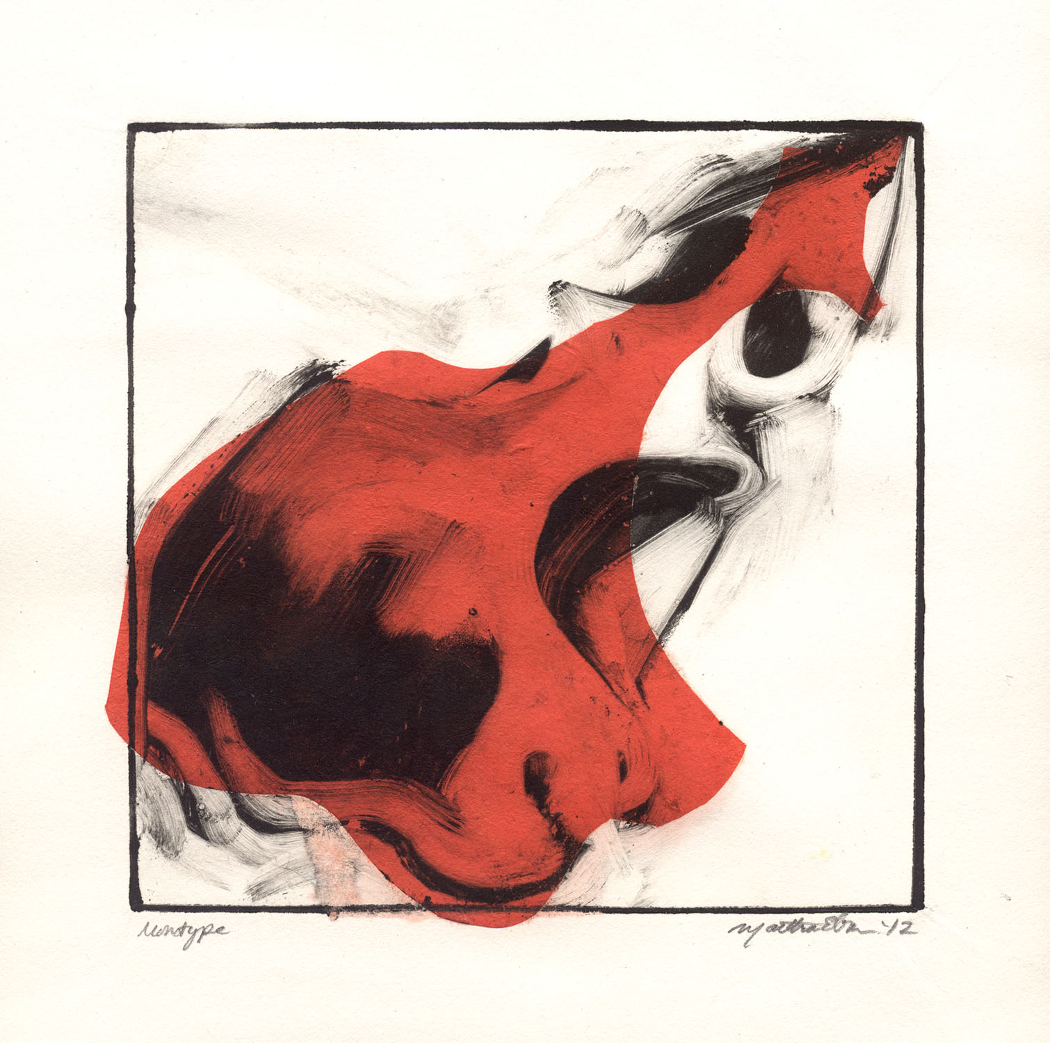 martha ebner red skull monotype