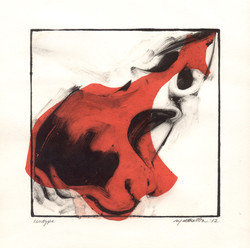 martha ebner red skull monotype