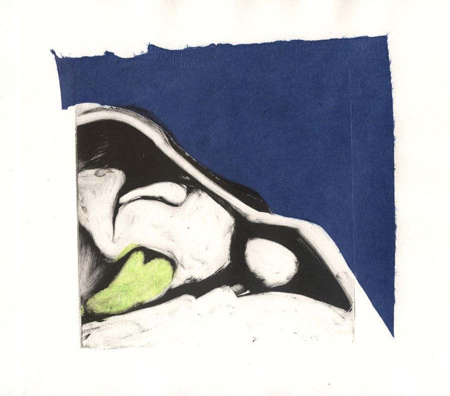 martha ebner bird skull monotype