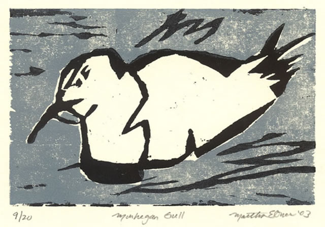 martha ebner monhegan gull woodcut