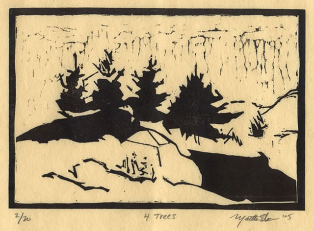 martha ebner four trees woodcut