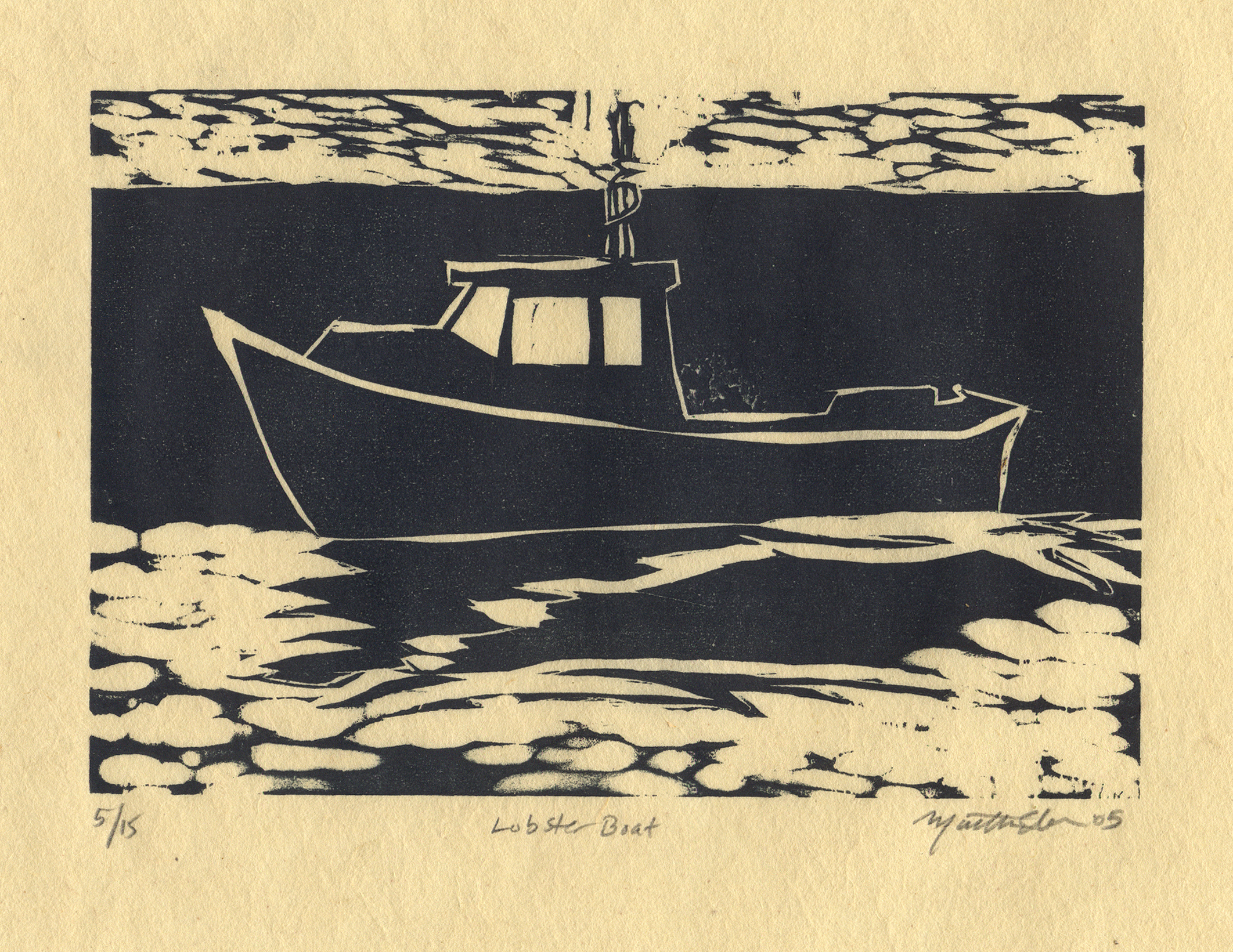 martha ebner lobster boat woodcut