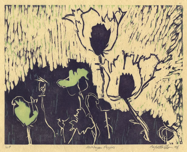 martha ebner poppies woodcut