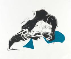 martha ebner bird skull monotype