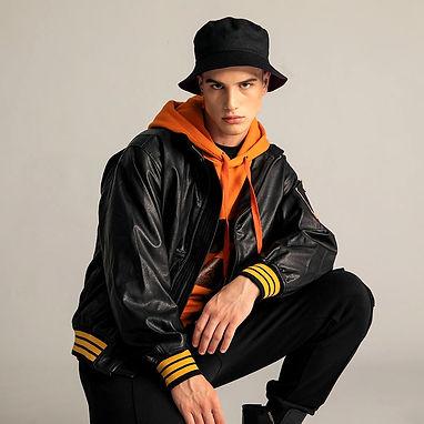 The Marjani Collection Men Black Leather regular jacket coat